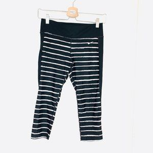Nike Striped Crop Leggings, Size S, Black and White